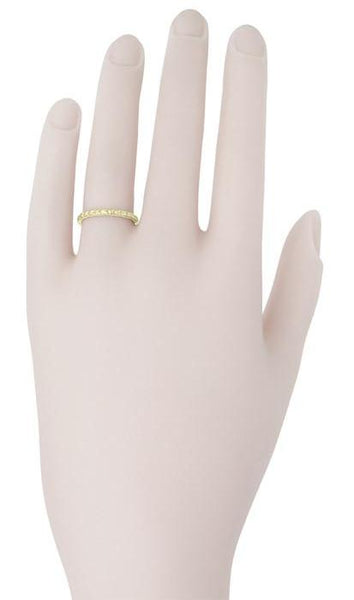 1930's 18K Yellow Gold Art Deco Thin Carved Wheat Wedding Band - Item: R241Y - Image: 1