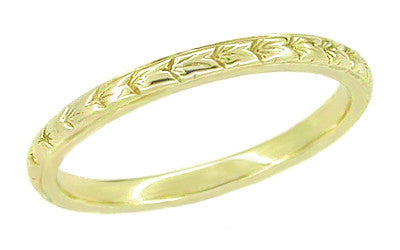 1930s 18K Yellow Gold Art Deco Wheat Engraved Vintage Wedding Band - 2mm Wide - R241Y
