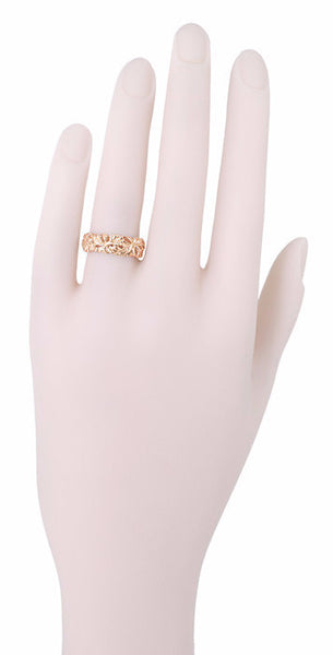 Rose Gold Calla Lilies Filigree Wedding Band - Item: R242R - Image: 1