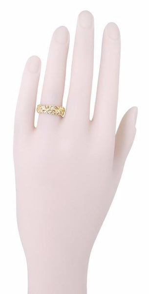 Calla Lilies Filigree Wedding Band in 14 Karat Yellow Gold - 6.6mm Wide - Item: R242Y - Image: 1