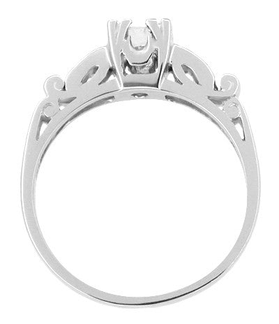 Mid Century Modern Scrolls Vintage Inspired Diamond Engagement Ring in Platinum - Item: R252 - Image: 1