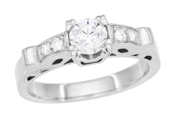 Mid Century Modern Scrolls Vintage Inspired Diamond Engagement Ring in Platinum