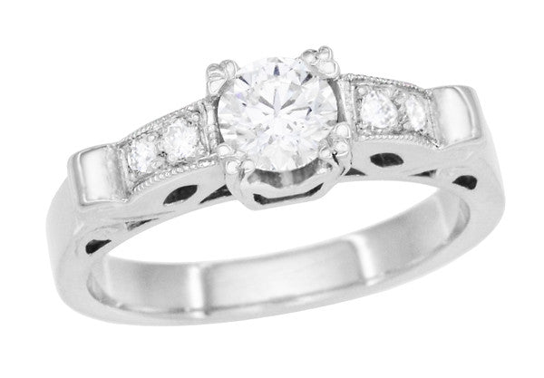Art Deco Scrolls Vintage Inspired Diamond Engagement Ring in Platinum