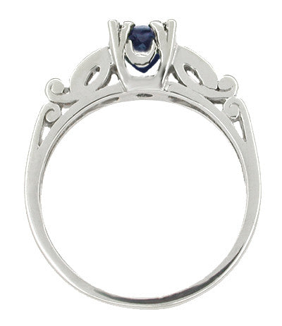 Sapphire and Diamonds Scroll Art Deco Engagement Ring in Platinum - Item: R256P - Image: 1