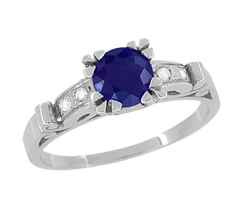 Sapphire and Diamonds Scroll Art Deco Engagement Ring in Platinum