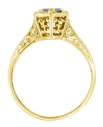 Art Deco Blue Sapphire Filigree Hexagon Engagement Ring in 14K Yellow Gold - Item: R257Y - Image: 1