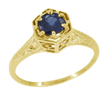 Art Deco Blue Sapphire Filigree Hexagon Engagement Ring in 14K Yellow Gold