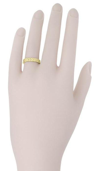 Vintage Style Basket Weave Wedding Band in 14K Yellow Gold - Item: R271Y - Image: 1
