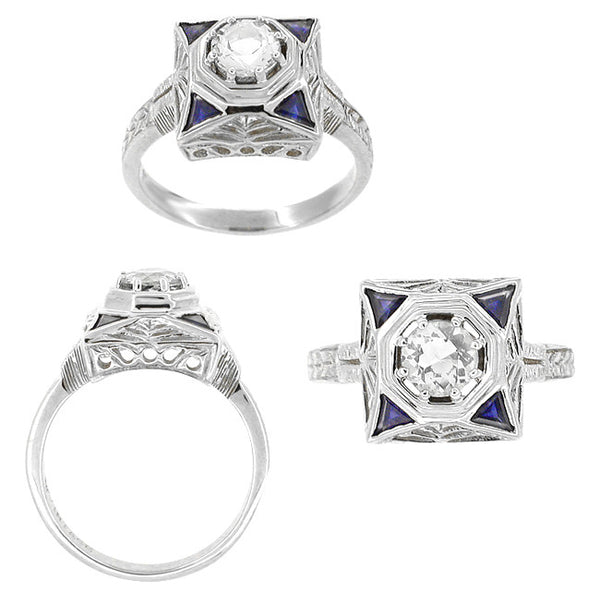 Art Deco Filigree Triangle Sapphires 1/2 Carat Diamond Engagement Ring in 14 Karat White Gold - Item: R277D - Image: 1