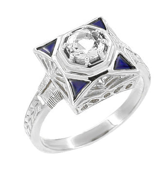 Art Deco Filigree Triangle Sapphires 1/2 Carat Diamond Engagement Ring in 14 Karat White Gold