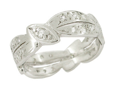 Retro Moderne Northford Vintage Platinum Diamond Wedding Band