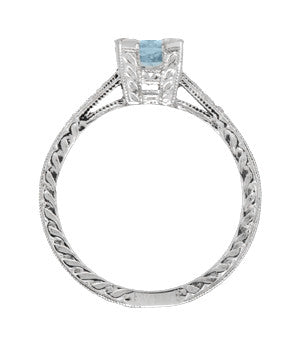 Art Deco 1 Carat Aquamarine and Diamonds Engraved Engagement Ring in Platinum - Item: R283P1A - Image: 2