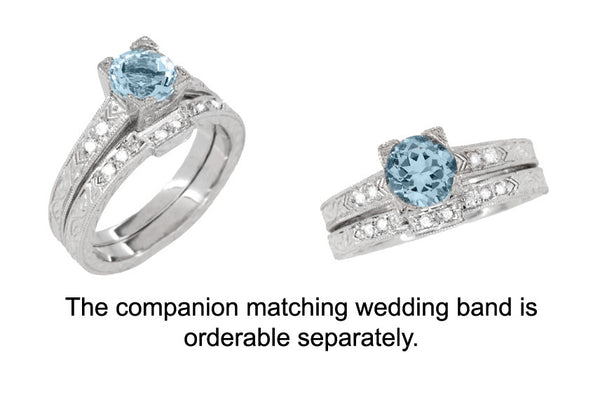 Art Deco 1 Carat Aquamarine and Diamonds Engraved Engagement Ring in Platinum - Item: R283P1A - Image: 3