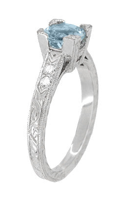 Art Deco 1 Carat Aquamarine and Diamonds Engraved Engagement Ring in Platinum - Item: R283P1A - Image: 1