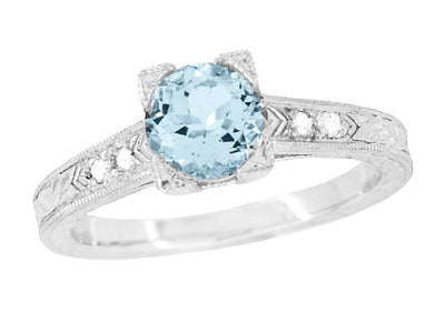 Art Deco 1 Carat Aquamarine and Diamonds Engraved Engagement Ring in Platinum