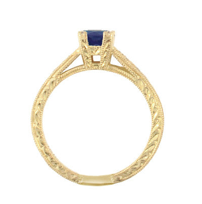 Art Deco Blue Sapphire and Diamonds Engraved Engagement Ring in 18 Karat Yellow Gold - Item: R283Y - Image: 2