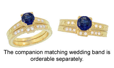 Art Deco Blue Sapphire and Diamonds Engraved Engagement Ring in 18 Karat Yellow Gold - Item: R283Y - Image: 3