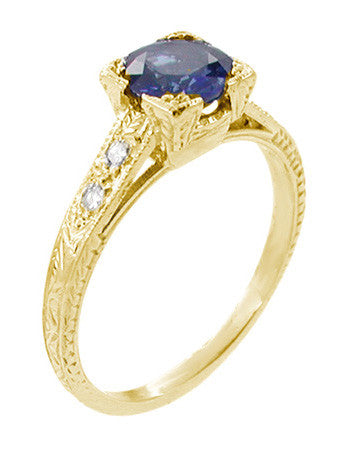 Art Deco Blue Sapphire and Diamonds Engraved Engagement Ring in 18 Karat Yellow Gold - Item: R283Y - Image: 1