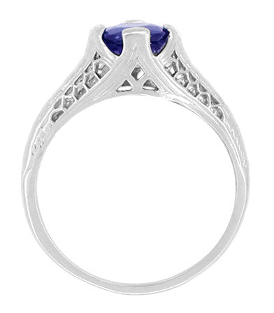 Honey Comb Filigree Blue Sapphire Art Deco Engagement Ring in 14 Karat White Gold - Item: R285W - Image: 1