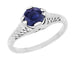 Honey Comb Filigree Blue Sapphire Art Deco Engagement Ring in 14 Karat White Gold