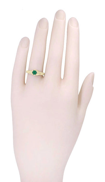 Art Deco Emerald and Diamond Filigree Engraved Engagement Ring in 14 Karat Yellow Gold - Item: R288Y - Image: 2