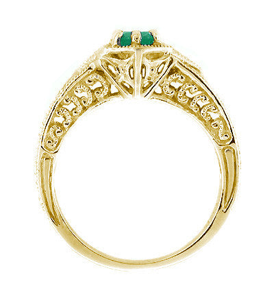 Art Deco Emerald and Diamond Filigree Engraved Engagement Ring in 14 Karat Yellow Gold - Item: R288Y - Image: 1