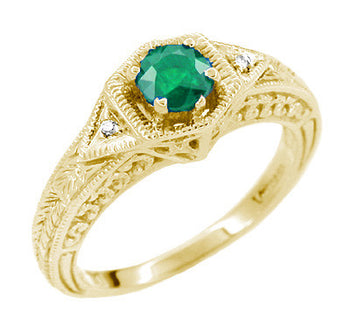 Yellow Gold Art Deco Filigree Engraved Emerald and Diamond Engagement Ring