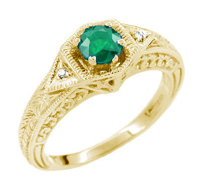Art Deco Emerald and Diamond Filigree Engraved Engagement Ring in 14 Karat Yellow Gold