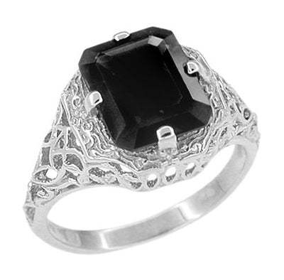 Art Deco Black Onyx Filigree Ring in 14 Karat White Gold
