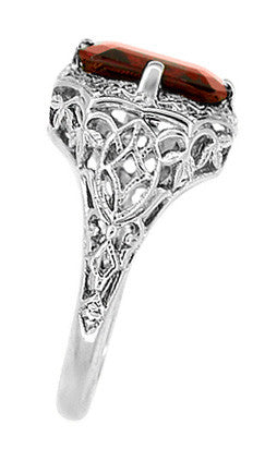 Art Deco Flowers and Leaves Almandine Garnet Filigree Ring in 14 Karat White Gold - Item: R289WG - Image: 2