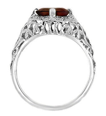 Art Deco Flowers and Leaves Almandine Garnet Filigree Ring in 14 Karat White Gold - Item: R289WG - Image: 3