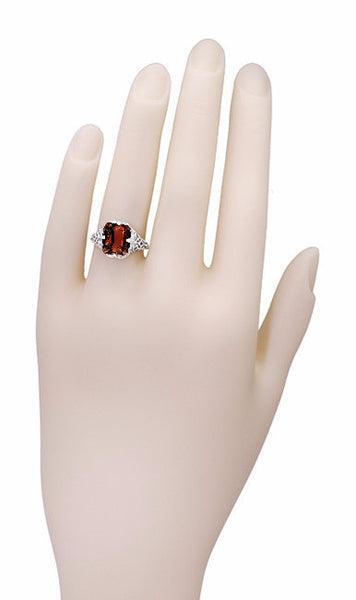 Art Deco Flowers and Leaves Almandine Garnet Filigree Ring in 14 Karat White Gold - Item: R289WG - Image: 4