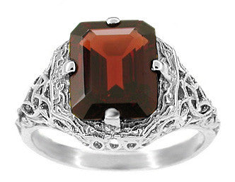 Art Deco Flowers and Leaves Almandine Garnet Filigree Ring in 14 Karat White Gold - Item: R289WG - Image: 1