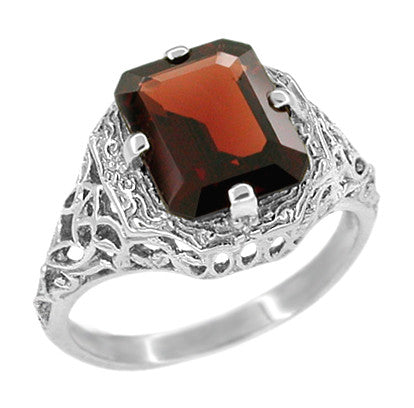 Art Deco Flowers and Leaves Almandine Garnet Filigree Ring in 14 Karat White Gold