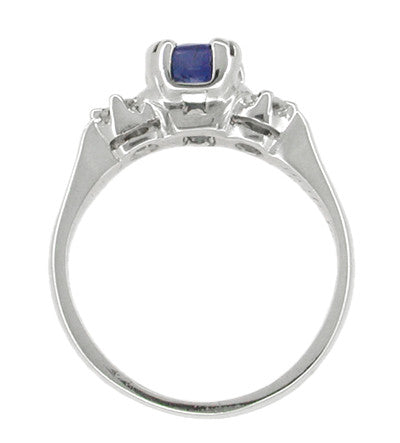 Sapphire and Diamonds Platinum Antique Engagement Ring - Item: R293 - Image: 1