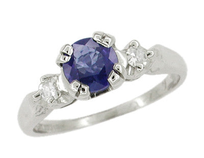 Sapphire and Diamonds Platinum Antique Engagement Ring