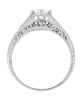 Art Deco Ansonia Filigree Diamond Engagement Ring in Platinum - Item: R296 - Image: 2