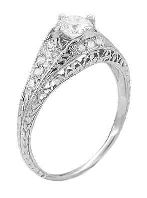 Art Deco 2/5 Carat Diamond Filigree Engagement Ring Setting in Platinum | 5mm - Item: R296NS - Image: 2