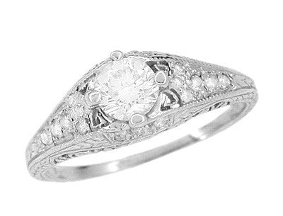 Art Deco 2/5 Carat Diamond Filigree Engagement Ring Setting in Platinum | 5mm - Item: R296NS - Image: 3