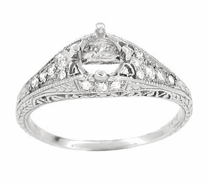 Art Deco 2/5 Carat Diamond Filigree Engagement Ring Setting in Platinum | 5mm - Item: R296NS - Image: 1