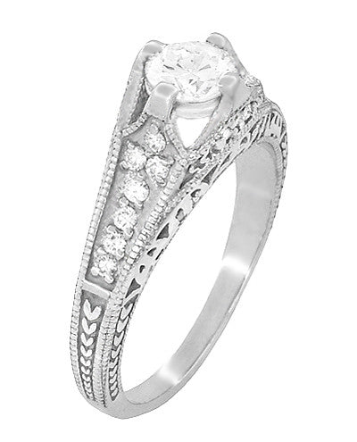 Art Deco Filigree Diamond Wheat Engraved Engagement Ring Semimount in Platinum - Item: R296P50D - Image: 2