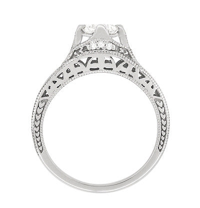 Art Deco Filigree Diamond Wheat Engraved Engagement Ring Semimount in Platinum - Item: R296P50D - Image: 3