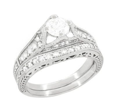 Art Deco Filigree Diamond Wheat Engraved Engagement Ring Semimount in Platinum - Item: R296P50D - Image: 4
