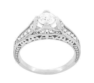 Art Deco Filigree Diamond Wheat Engraved Engagement Ring Semimount in Platinum