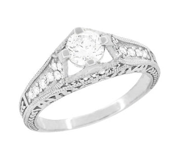 Art Deco Filigree Diamond Wheat Engraved Engagement Ring in 18 Karat White Gold