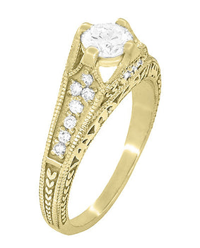 Art Deco Filigree Diamond Wheat Engraved Engagement Ring in 18 Karat Yellow Gold