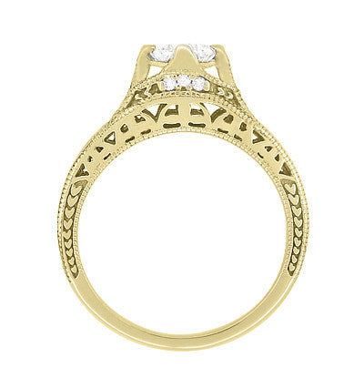 Art Deco Filigree Diamond Wheat Engraved Engagement Ring in 18 Karat Yellow Gold - Item: R296Y50D - Image: 3
