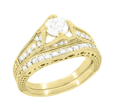 Art Deco Filigree Diamond Wheat Engraved Engagement Ring in 18 Karat Yellow Gold - Item: R296Y50D - Image: 4
