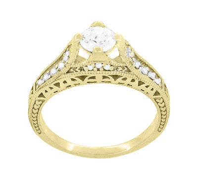 Art Deco Filigree Diamond Wheat Engraved Engagement Ring in 18 Karat Yellow Gold - Item: R296Y50D - Image: 1