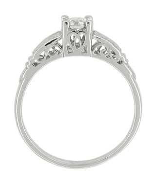 Art Deco Filigree Solitaire Engraved Diamond Engagement Ring in Platinum - Item: R297 - Image: 2